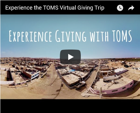 TOMs shoes virtual reality, VR, TOMS shoes